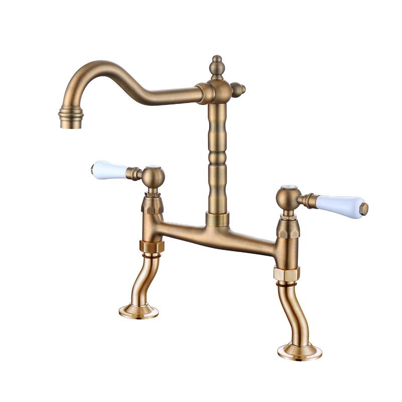 110206al double hole double handle kitchen faucet
